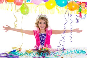 child kid crown princess in birthday party happy gesture and chocolate cake at spellbound parties