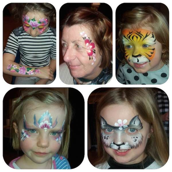 Different pictures of face painting; a tiger, butterfly, cat, flowers at Spellbound Parties