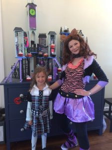 Monster High Wolf lady with young girl as Frankie at Spellbound Parties