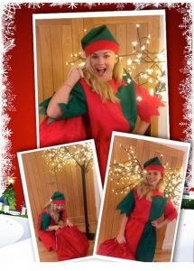 Lady dressed as Christmas Elf ready to visit children on Christmas Eve at Spellbound Parties